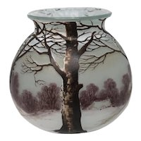 French Richard Cameo Glass Vase Scenic Decor