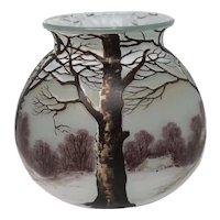 French Richard Cameo Glass Vase Scenic Decor