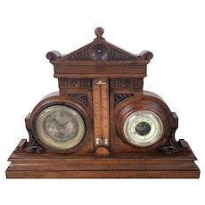 19th C Eastlake Style Carved Oak Clock Barometer