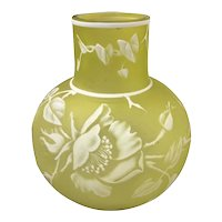 Webb English Cameo Glass VaseCitron Yellow