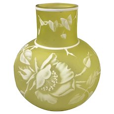 Webb English Cameo Glass VaseCitron Yellow
