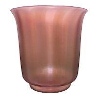 Pink Iridescent Steuben Oriental Poppy Glass Vase