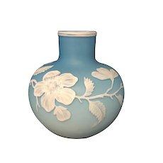 Webb English Cameo Glass Vase Robin's Egg Blue Floral Design