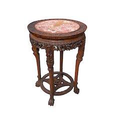 China Trade Carved Hong Hongmu Marble Top Pedestal Table