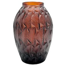 R. Lalique Grignon Molded Amber Glass Vase