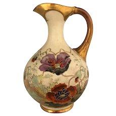 Austrian Art Pottery Decorated Ewer Pitcher