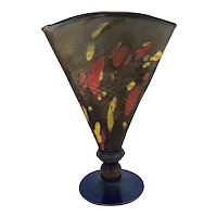 Rare Art Glass Fenton Mosaic Fan Vase 1925