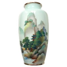 Vintage Japanese Cloisonne Scenic Vase