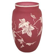 Webb English Cameo Glass Vase With Ivy Pattern