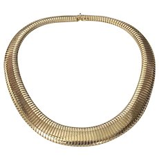 14K Gold Italian Graduating Accordion Necklace