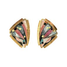 22K Gold Silver & Enamel Signed Pierced Earrings