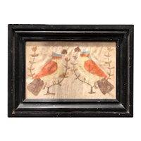 American Folk Art Watercolor Love Birds