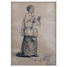 "Minerva J . Chapman Pen And Ink Drawing 1885 "" Choir Boy """