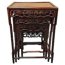 Set Of Chinese Carved Hardwood Nesting Tables