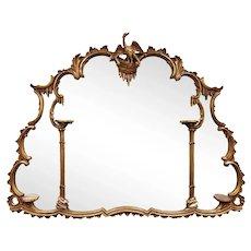 English Georgian Baroque Style Carved Gilt Wood Over Mantel Mirror