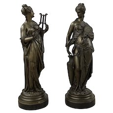 "Pair 19th Century French Allegorical Bronzes ""Music"" And ""Art"""