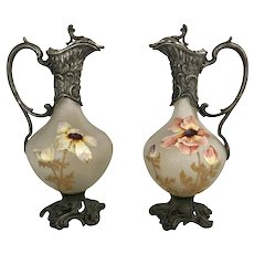 French Cameo Glass Ewers With Art Nouveau Mounts