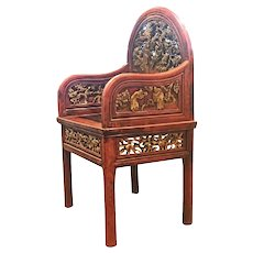 19th Century Chinese Carved Gilt Lacquered Chair