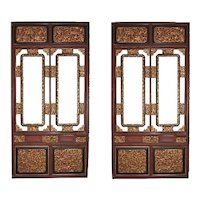 19th C Chinese Carved Gilt Wood And Lacquered Architectural Panels