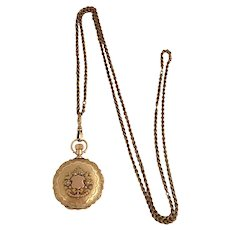 Ornate Waltham 14K Gold Hunter Case Pocket Watch & Chain 1890
