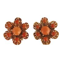 Pair Retro Period 14K Rose Gold And Coral Clip Earrings