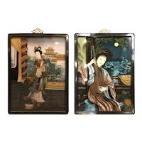 Pair Chinese Portraits Of Ladies Reverse Paintings On Glass