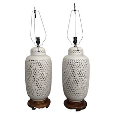 Pair Large Mid Century Blanc De Chine Reticulated Lamps
