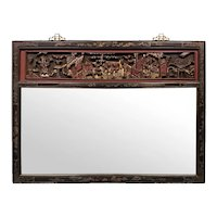 Late 19th C. Chinese Carved Gilt Wood and Lacquer Mirror