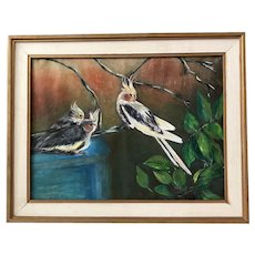 "Alice Scott "" Yellow Crested Birds "" Watercolor"