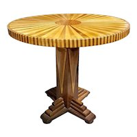 Whimsical Walnut And Maple Center Table With Radial Inlay