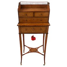 18th Century English George III Satinwood Bonheur Du Jour