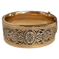 Wide Victorian Gold Filled Enamel Bangle Bracelet