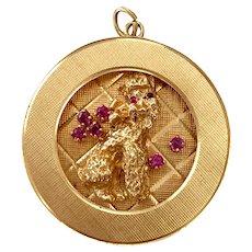 Vintage Large 14K Gold & Ruby Poodle Charm / Pendant