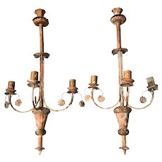 Pair Vintage Of Whimsical Copper Three Light Candle Sconces