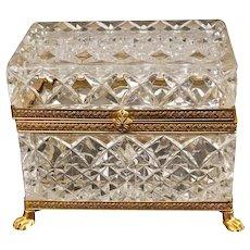 Vintage French Cut Crystal And Ormolu Box