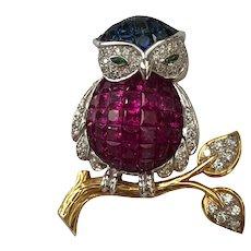 Vintage LeVian 18K Gold Diamond Ruby Sapphire Owl Brooch