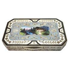 Austrian Gilt Sterling Enamel & Engraved Scenic Box
