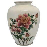 Vintage Japanese Cloisonne Vase With Roses