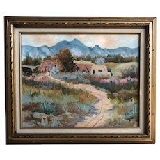 Jan Wills Western Impressionist Landscape With Adobe Oil On Canvas