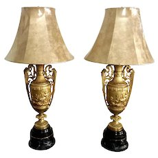 Large Pair Of 19th C. French Gilt Bronze Neoclassical Revival Urns Lamps Attributed To Levillain