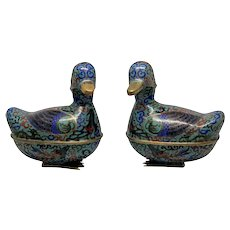 Pair Of Chinese Cloisonne Duck Form Boxes
