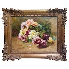 "Georges Jeannin "" Still Life With Roses "" Oil On Canvas"