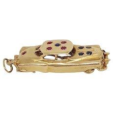 Vintage 14K Gold 1950s Automobile Car Charm Rubies Sapphires