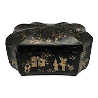 Antique Unusual Chinese Papier Mache Box c. 1830