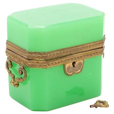 French Green Opaline Glass Casket, 19th Century