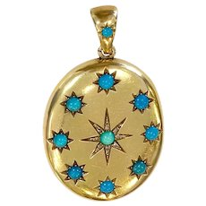 Victorian 18K Gold & Turquoise & Diamond Locket