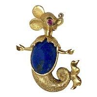 Vintage 18K Gold Lapis Lazuli Ruby Mermaid Mouse Pin