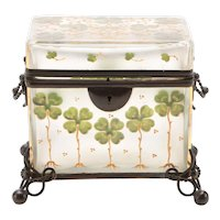 French Frosted Crystal Painted Enamel Clover Glass Box