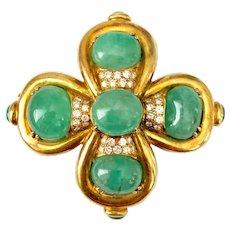 Marlene Stowe 18K Gold Emerald and Diamond Brooch