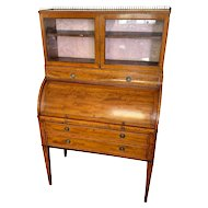 English George III Period Satinwood Cylinder Desk / Secretaire